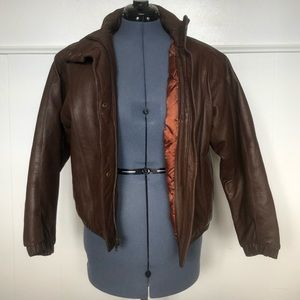 Vintage Eddie Bauer Brown Leather Bomber Jacket